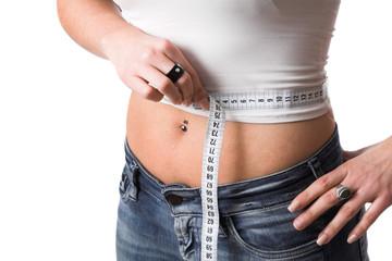measuring her waist