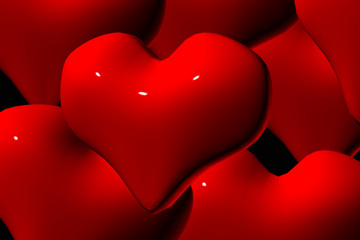 red, red hearts