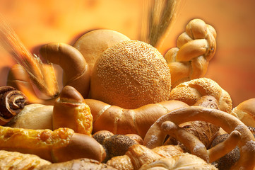 group of different bread products photographed wit