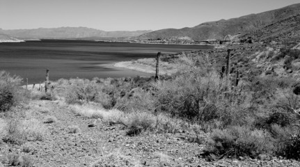 monochrome desert lake