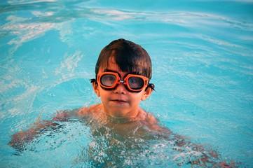 boy in a swimming pool