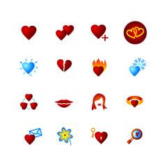 colourful icon set. hearts, love, valentine