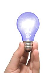 blue light bulb in hand