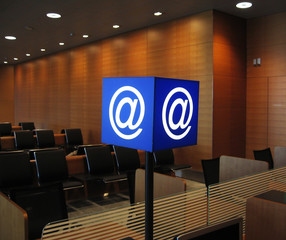 e-mail signboaed in airport