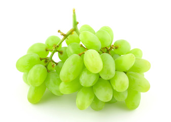 bunch of green grapes on white