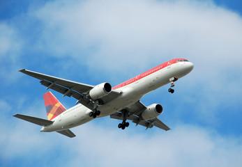 modern passenger jet flying overhead
