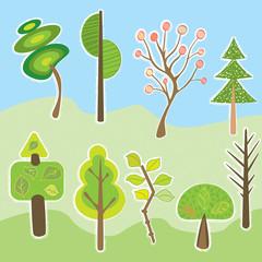 cartoon style trees