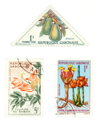 gabon post stamps with plants