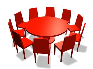 table meeting red