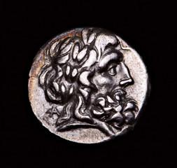 greek silver coin zeus