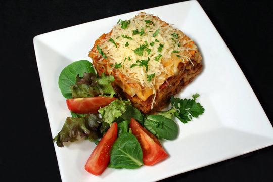 lasagna and salad 1