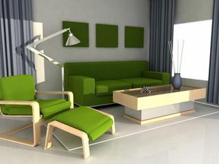 interior house - green sofà