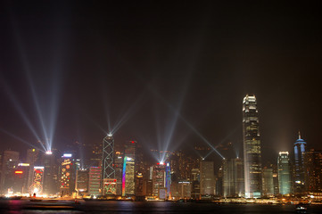 Fotorollo Hongkong night scene of hong kong skyline