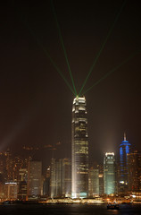 Foto auf Acrylglas Hongkong night scene of skyscrpaer in hong kong