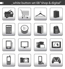 """white button set 08 """"shop & digital"""""""