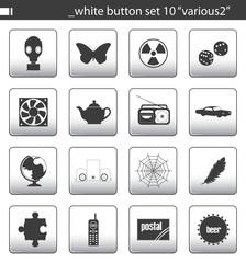 """white button set 10 """"various2"""""""