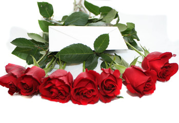 red roses bouquet with  white note