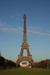 eiffel tower under a clear blue sky