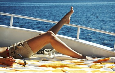 relaxing on the yacht