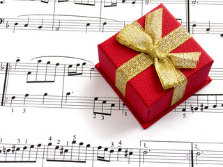 gift box on music sheet