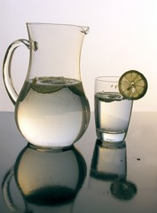 soda-water with lemon slices