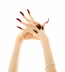 hands with long acrylic nails