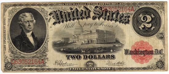vintage two dollar bill 1917