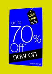 sign.sale. up to 70% off now on selected items