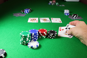 the winning hand - showing quad kings