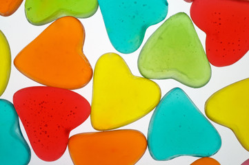 heart shaped colored candies (valentine) closeup b