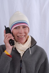 cold woman with phone