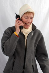 cold woman on phone