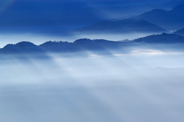 foggy view from mountains