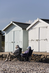 old people beach huts
