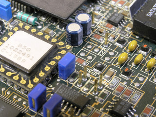 closeup of a motherboard