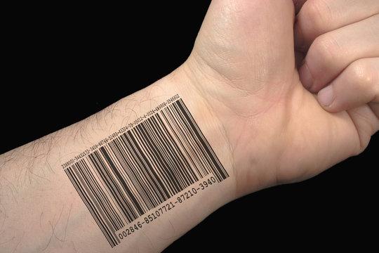 bar code tattoo.
