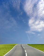 wide blue sky road