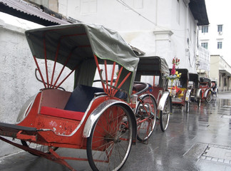 Printed roller blinds Beijing trishaws waiting in the rain