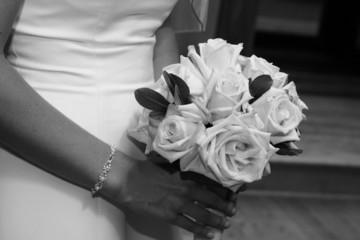 white rose flowers in hand arm bracelet bride
