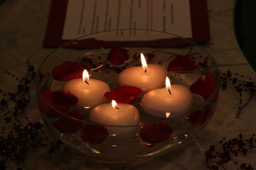 floating candle love memory bowl water red