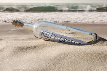 help message in a bottle
