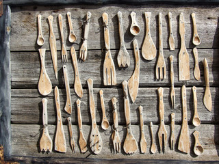 wooden fork, spoon and knife collection