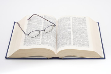 dictionary & glasses
