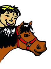 garcon et son poney