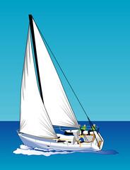 sailing under blue skies