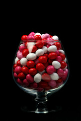 candy in a brandy glass