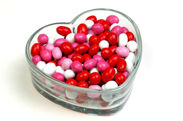 valentine candy in heart-shaped dish