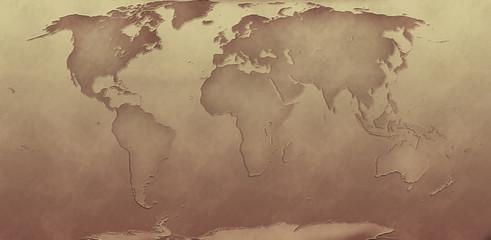sepia tone world map