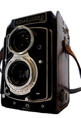 retro rollei box camera isolated on white
