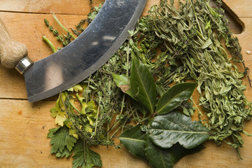 herbs on a chopping board